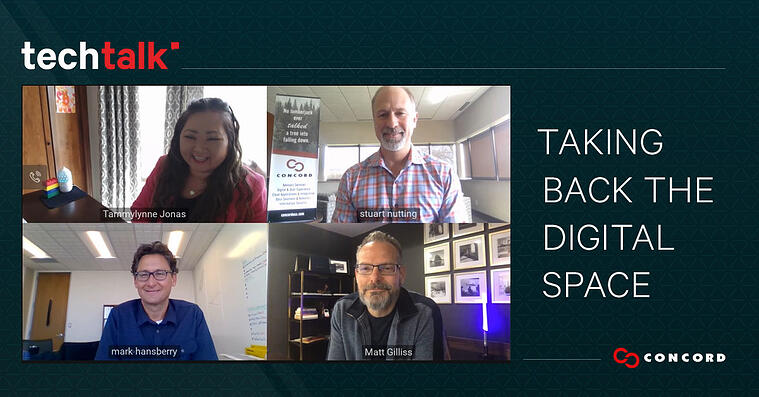 """Screenshot of the four panelists with text stating """"Taking Back the Digital Space""""."""