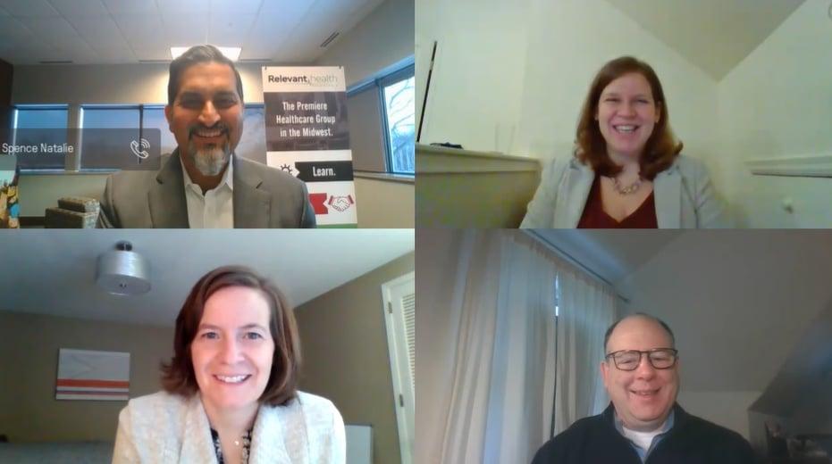 Screenshot of panelists talking with moderator via Zoom.