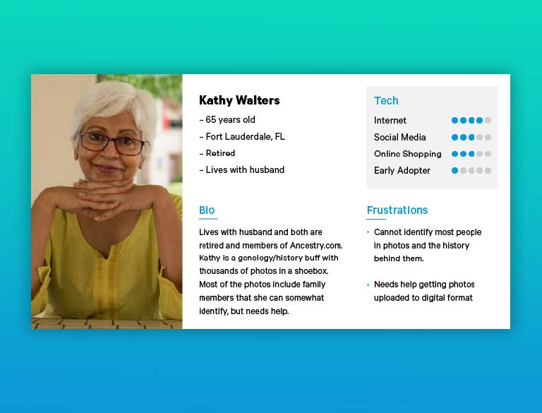 """Headshot of woman accompanied by her """"Bio"""", """"Tech"""" usage, and """"Frustrations""""."""