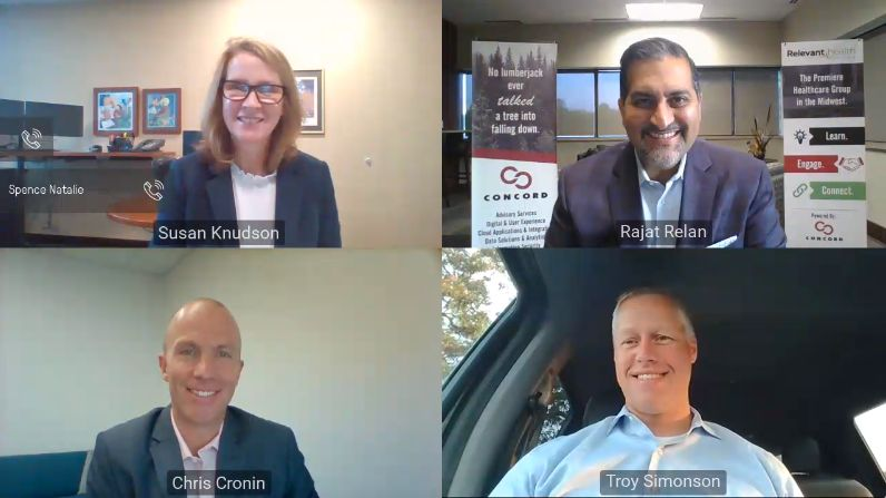 Screenshot of RHR panelists and moderator smiling during Zoom event.