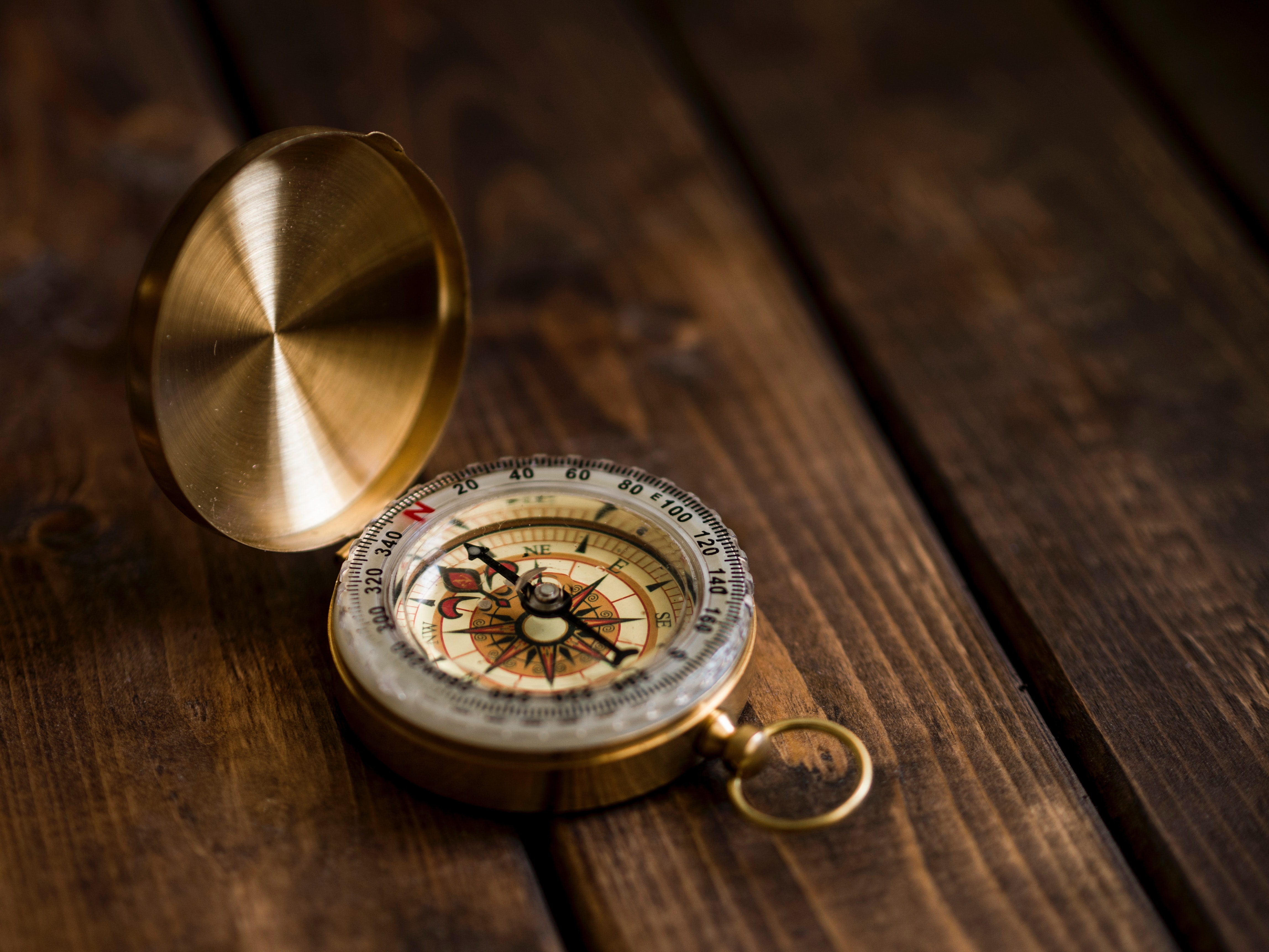 Close-up of gold compass on brown wood table.